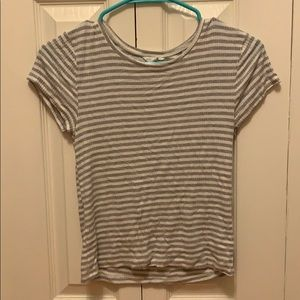 Grey and white striped crop top